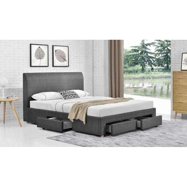 fournier decoration loft lit tissu lin gris souris. Black Bedroom Furniture Sets. Home Design Ideas