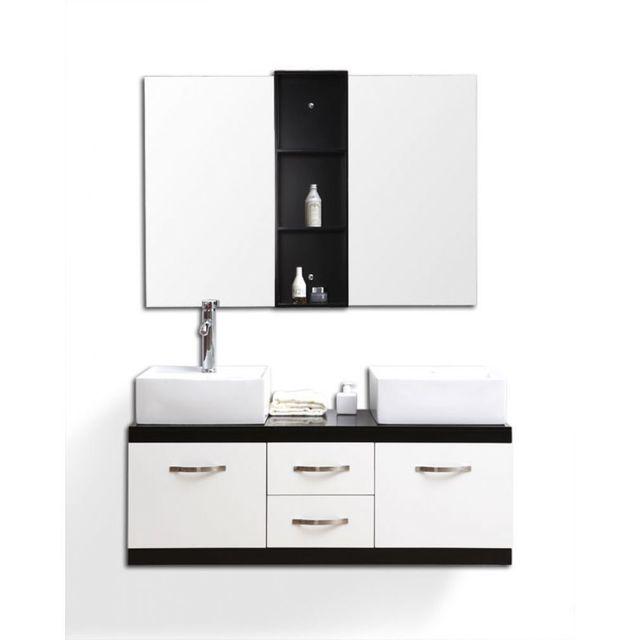 Miliboo meubles de salle de bain double vasque meuble sous vasque et miroirs dohan pas - Meuble salle de bain rue du commerce ...