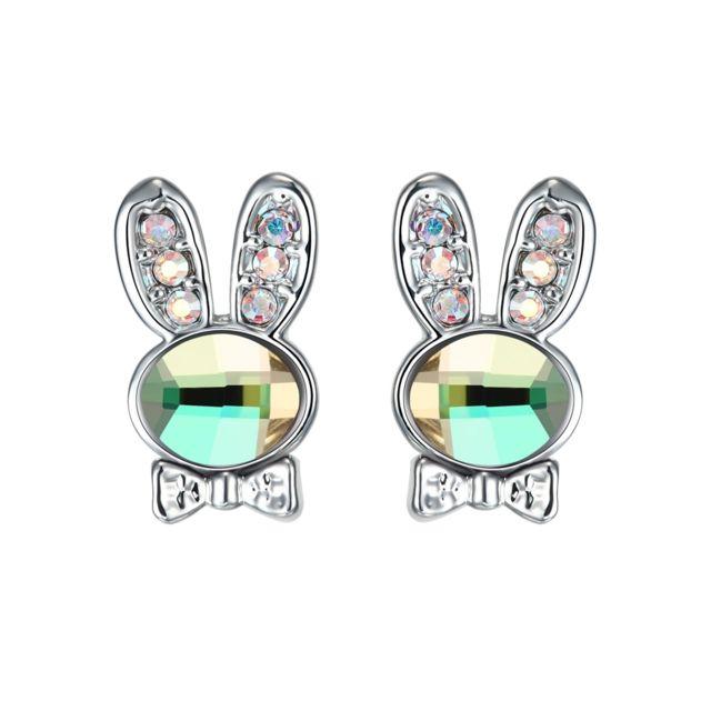 Blue Pearls - Boucles d oreilles Lapin en Cristal de Swarovski ... 4390b0a6fd11