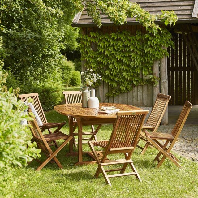 bois dessus bois dessous salon de jardin en bois de teck 6 8 places n a pas cher achat. Black Bedroom Furniture Sets. Home Design Ideas