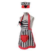 Vigar - Set tablier et toque enfant polyester/coton motif cœur rayure noir/blanc 45.5x55cm Romanticnc