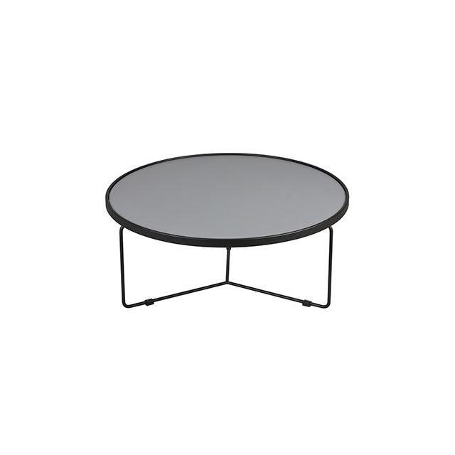 Table basse 90cm diam en acier et bois naturel