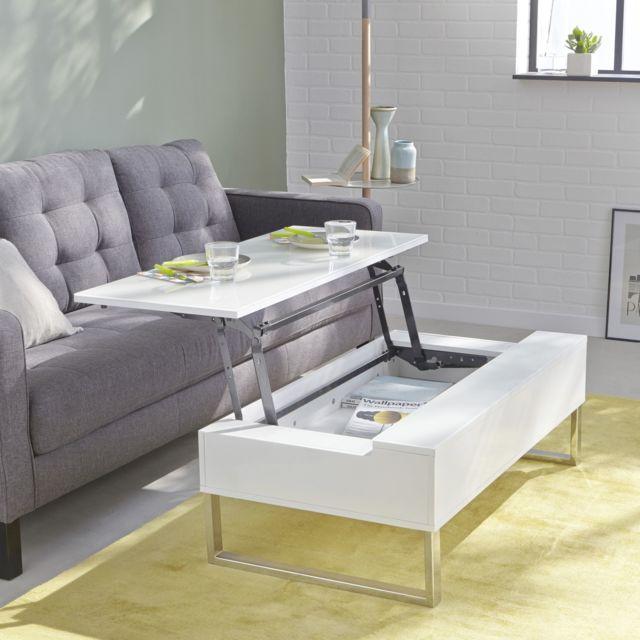 alin a novy table basse blanche avec tablette relevable pas cher achat vente tables basses. Black Bedroom Furniture Sets. Home Design Ideas