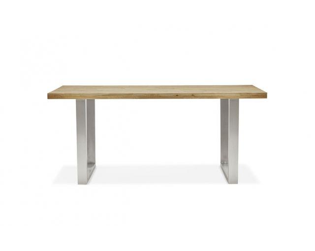 Skedia Table à manger chêne massif et pieds en métal brossé