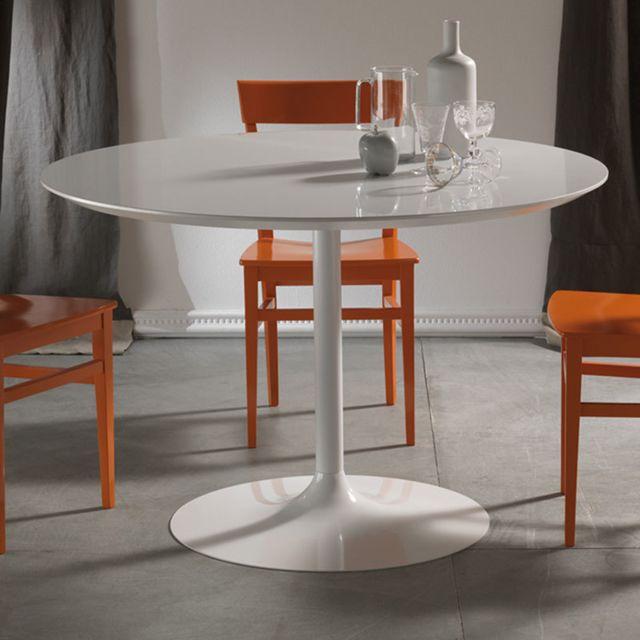 Nouvomeuble Table à manger ronde blanche design Emilio