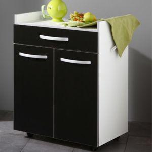 desserte cuisine 60x45x82cm coloris noir pas cher achat vente meubles de cuisine rueducommerce. Black Bedroom Furniture Sets. Home Design Ideas