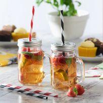 Kilner - Coffret de 2 bocaux avec anse en verre avec couvercle + 4 pailles Drinking