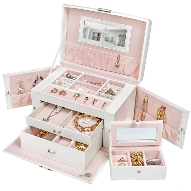Boîte à Bijoux, Boite de Rangement, Présentoir à Bijoux, Coffret à Bijoux  Avec Miroirs Blanc