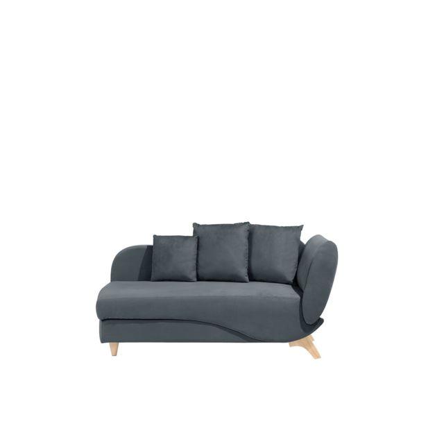 BELIANI Canapé gris foncé côté droit MERI - noir