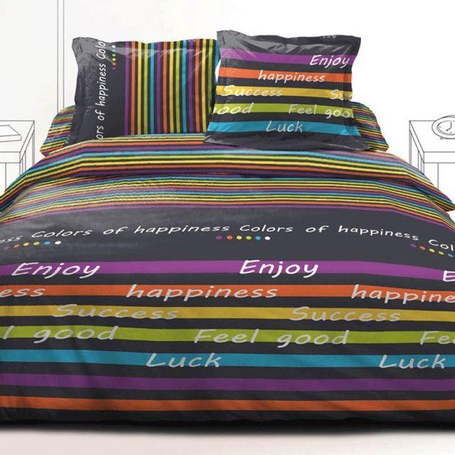 100pourcentcoton couette 240x260 cm microfibre double face imprim e colors of happiness pas. Black Bedroom Furniture Sets. Home Design Ideas