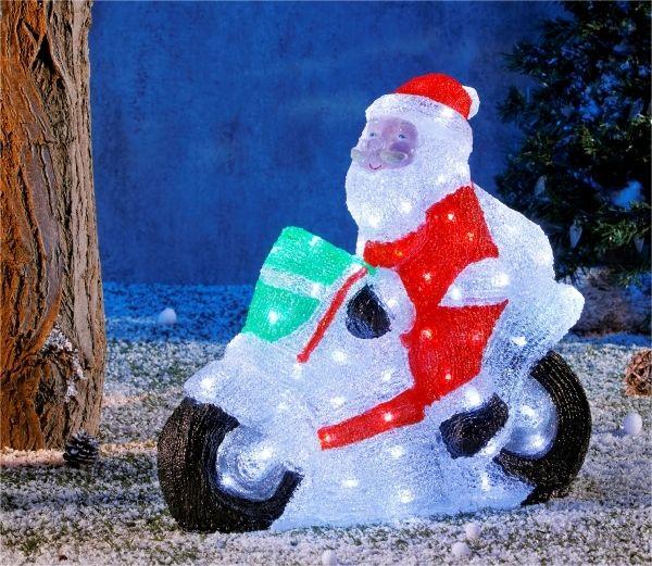 No Name - Superbe décoration de Noël ! - Père Noël sur sa moto - Lumineux  acrylique coloré - 96 Led blanches - Intérieur et extérieur - pas cher  Achat ... 29c35ee38e39