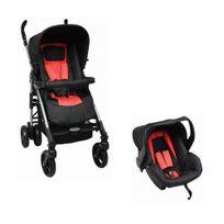 TEX BABY - Poussette Pack Duo bébé - Groupe 0+ - Noir et Rouge