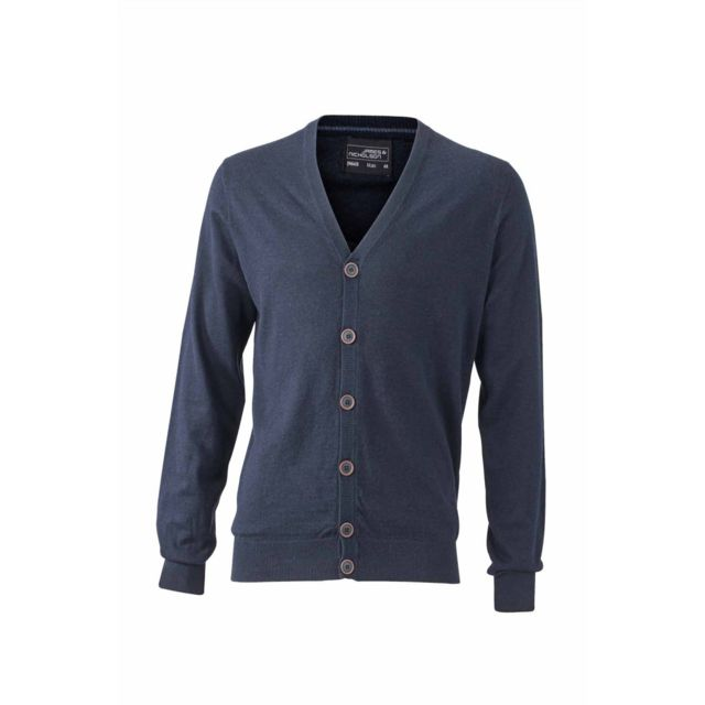 James   Nicholson - Pull boutonné cardigan cachemire - Homme - Jn668 - bleu  marine bdba83d109b0