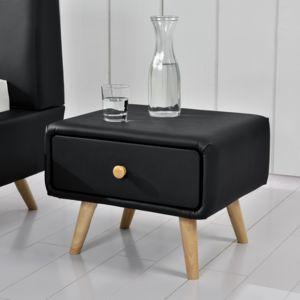 soldes concept usine scandi noir table de chevet scandinave noir avec 1 tiroir et 4 pieds en. Black Bedroom Furniture Sets. Home Design Ideas