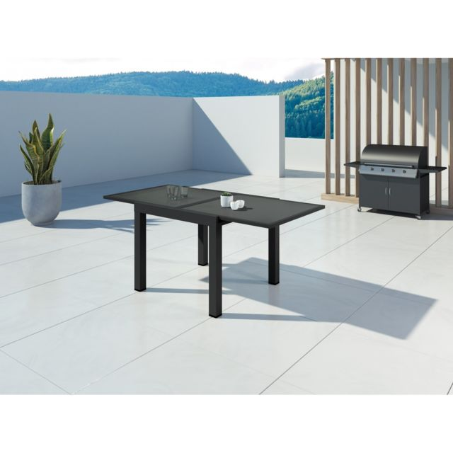 ims garden hara table de jardin extensible aluminium 90 180cm 6 places noir 180cm x. Black Bedroom Furniture Sets. Home Design Ideas