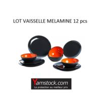 Alpa - Lot de vaisselle melamine 12 pieces gris / orange Aa