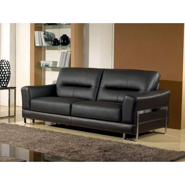la maison du canap canap cuir 3 places kerria cuir sup rieur noir 90cm x 209cm x 90cm. Black Bedroom Furniture Sets. Home Design Ideas