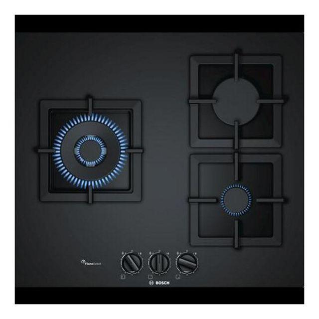 Totalcadeau Plaque à gaz noir 60 cm 3 feux - Dimensions 60 cm et Puissance: 8000 W