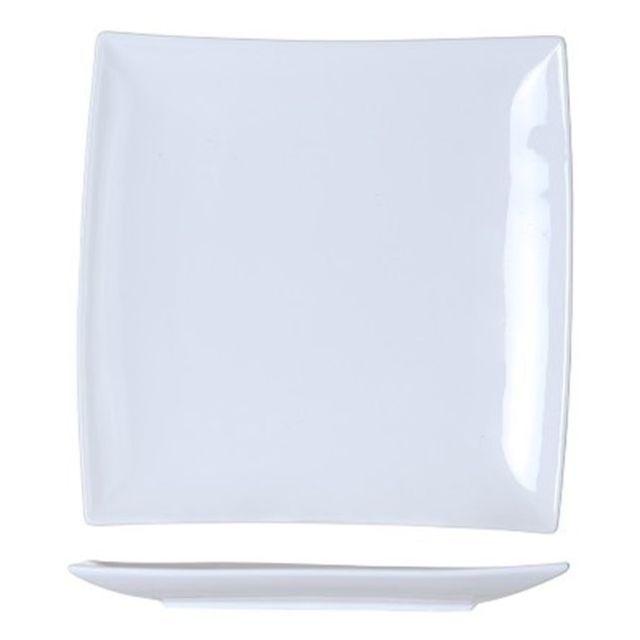 1001DECOTABLE 6 Assiettes carrées bord incliné blanches