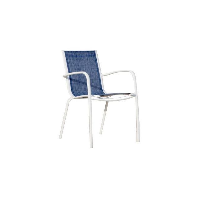 Proloisirs - Fauteuil Linea en aluminium et textilène jean\'s Lot de ...