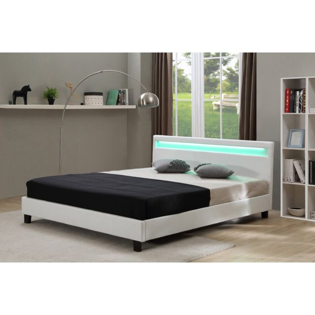 habitat et jardin lit led maria 160 x 200 cm blanc 90cm x 190cm pas cher achat vente. Black Bedroom Furniture Sets. Home Design Ideas