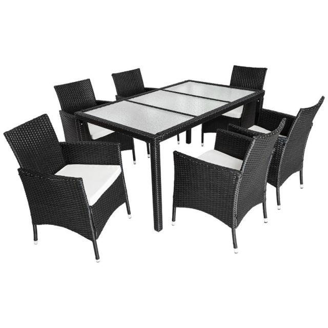 helloshop26 salon de jardin 6 chaises rotin r sine tress synth tique noir coussins. Black Bedroom Furniture Sets. Home Design Ideas