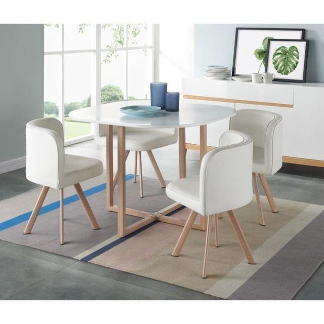 TABLE A MANGER AVEC CHAISES LUND Ensemble table a manger 4 personnes style industriel décor chene + 4 chaises simili bla
