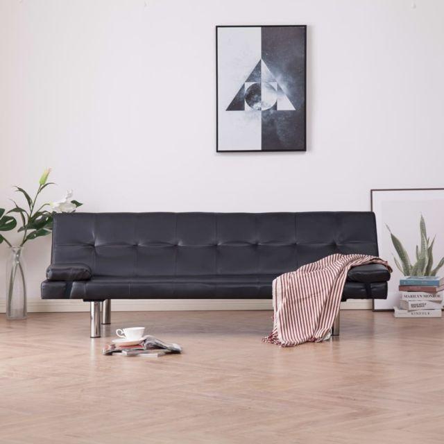 Chic Meubles selection Damas Canapé-lit avec deux oreillers Marron Similicuir