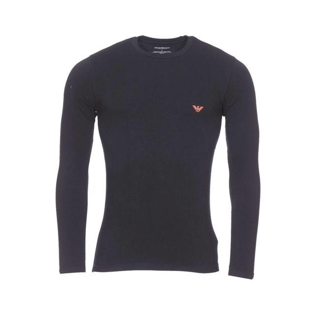 Armani Ea7 - Tee-shirt manches longues col rond Emporio Armani en coton  stretch noir 4a84214160a