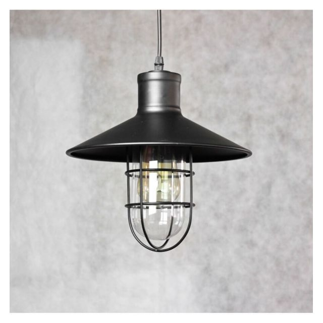 kosilum suspension industrielle grille vintage noire yura pas cher achat vente. Black Bedroom Furniture Sets. Home Design Ideas