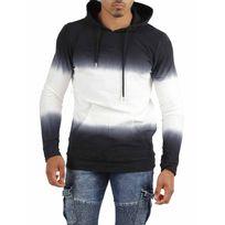 Gov Denim - Sweat à capuche homme noir et blanc 172018_BK-W, Taille: M
