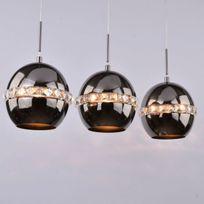 Kosilum - Suspension triple noire et cristal - Diadema