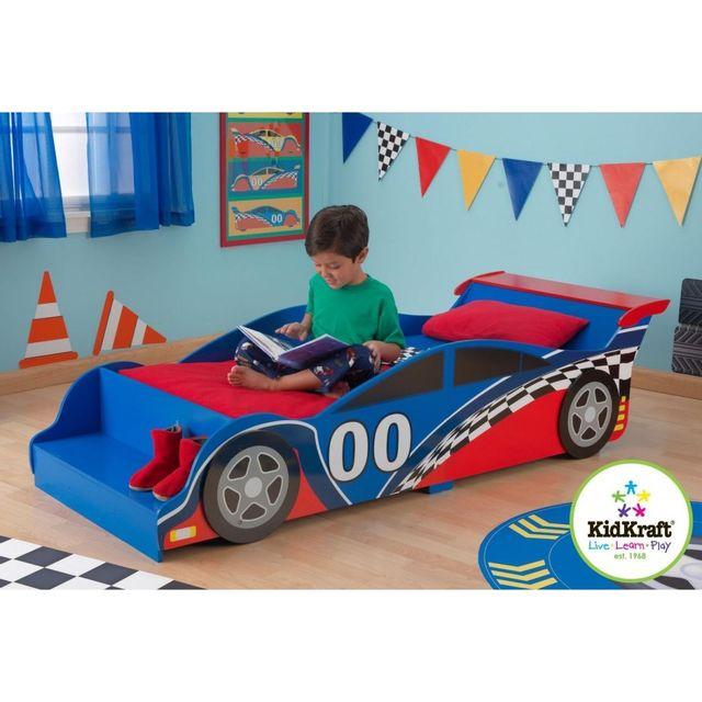 kidkraft lit voiture de course enfant bleu pas cher achat vente lit bb rueducommerce - Lit Voiture Enfant
