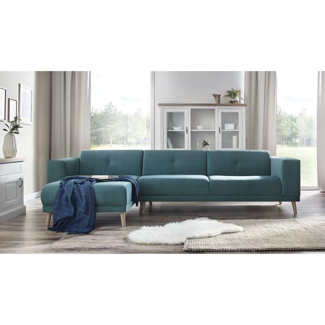bobochic luna canape d 39 angle gauche pouf bleu. Black Bedroom Furniture Sets. Home Design Ideas