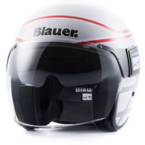 Blauer - casque jet moto scooter Pod Graphic fibre blanc-gris-rouge brillant M