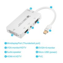 Tbs - Tbs2232 Adaptateur 4 en 1 Thunderbolt Mini DisplayPort vers Hdmi / Dvi / Vga avec Audio - Adapter Converter MiniDP to Hdmi / Dvi / Vga with Audio
