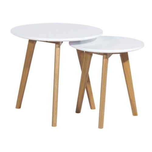Beaux Meubles Pas Chers 2 Tables Basses Gigognes Rondes Blanches 3