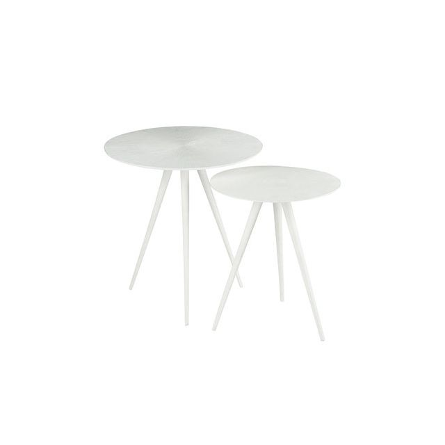 Set de 2 tables gigognes en métal blanc mat