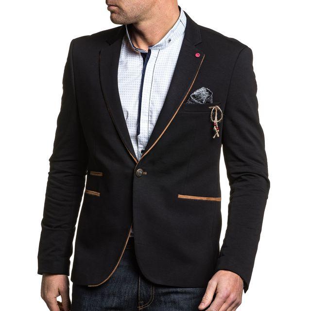 Marron Jeans Blz Noir Coudières Veste Homme De Chic Costume À fzzFxqwP