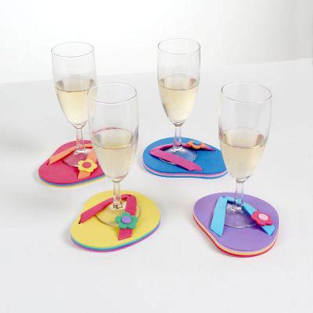 Astuceo Dessous de verre décor tong - lot de 4