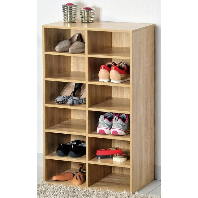 Meuble A Chaussures D Interieur 12 Compartiments Bois