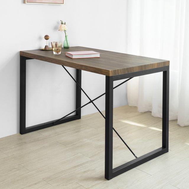 Sobuy Ogt20-N Table à Manger en Métal Style Industriel Table de Cuisine Table de Repas Table à Dîner Table de Balcon Mobilier