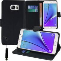 Vcomp - Housse Coque Etui portefeuille Support Video Livre rabat cuir Pu pour Samsung Galaxy Note5 Sm-n920T/ Note 5 Duos Dual Sim, / Note5 CDMA, N920V N920P N920R N920A + mini stylet - Noir