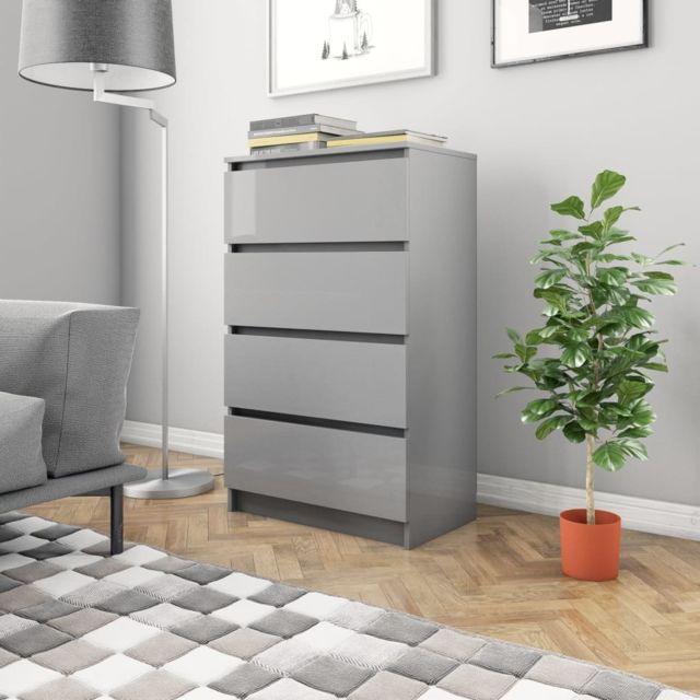 Inedit Armoires & meubles de rangement gamme Roseau Buffet Gris brillant 70 x 40 x 97 cm Aggloméré