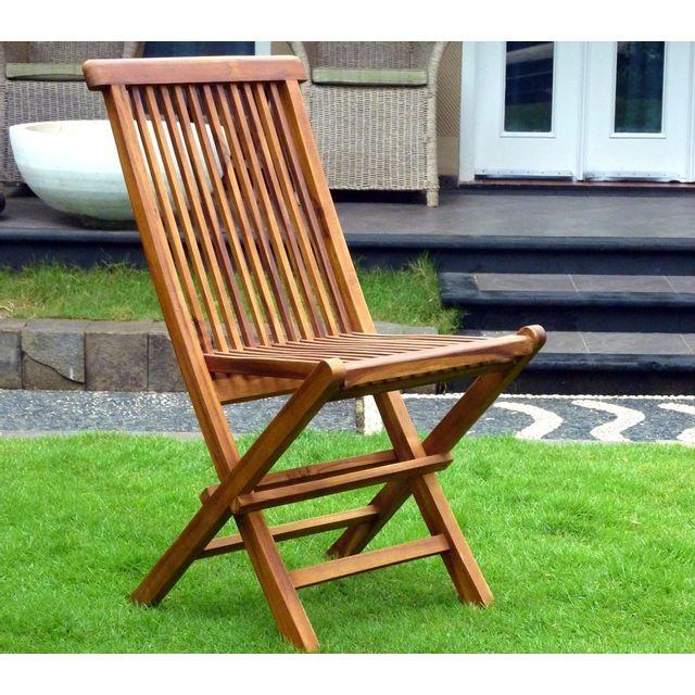 Wood En Stock Chaises de jardin pliante en teck huilé