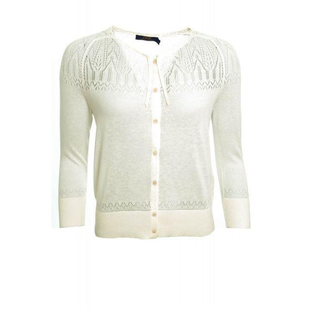 b55e09a8560f Ralph Lauren - Gilet blanc crème Sterling pour femme - pas cher Achat   Vente  Pulls femme - RueDuCommerce