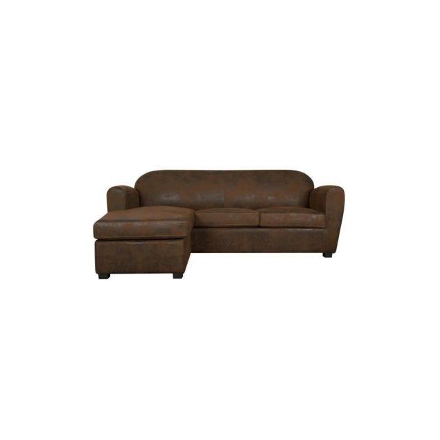 Sans Marque Corona Canape Club Dangle Reversible 3 Places - Tissu Imitation Cuir Marron Vieilli - Industriel - L 208 X P 90 / 154 Cm