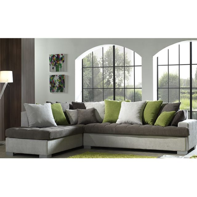 SOFAMOBILI Canapé d'angle gris en tissu JOAN