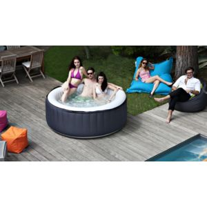 spark spa jacuzzi gonflable chauffant rond 180x70 cm 800 litres noir blanc 3 4 personnes. Black Bedroom Furniture Sets. Home Design Ideas