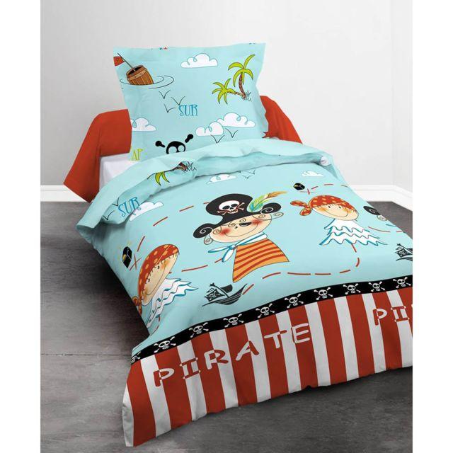 today housse de couette pirates 140x200cm 100 coton 57fils cm sable pas cher achat vente. Black Bedroom Furniture Sets. Home Design Ideas